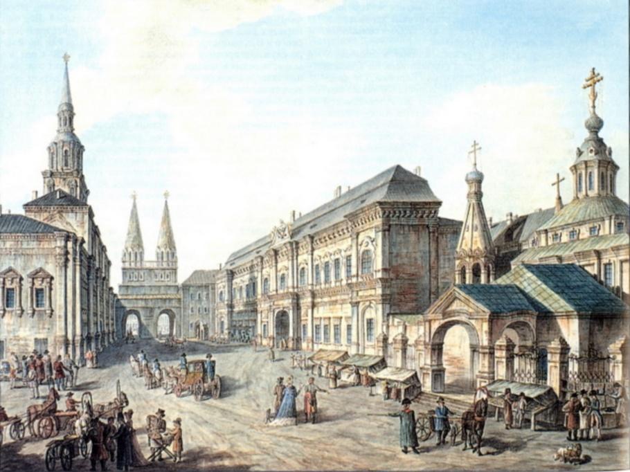 Ф.Алексеев. Cеверная сторона Красной Площади со зданием главной аптеки. 1802 год