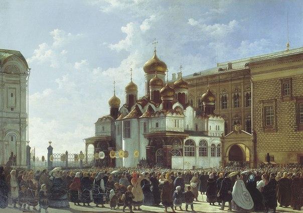 Карл-Фридрих Бодри. Благовещенский собор в Московском Кремле. Крестный ход. 1860 год