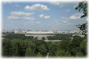 Вид на Лужники с Воробьевых гор